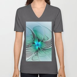 Abstract With Blue 2, Fractal Art Unisex V-Neck