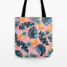 Pineapple and Leaf Pattern Tote Bag