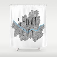 seoul Shower Curtains featuring Seoul city by Vania Pietronigro
