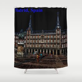 Neon Art of a plaza in Madrid, Spain Shower Curtain