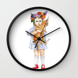 little girl with red cat Wall Clock