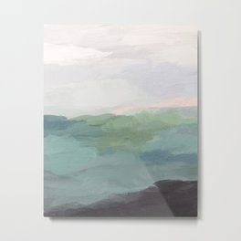 Seafoam Green Mint Black Blush Pink Abstract Nature Land Art Painting Art Print II Metal Print