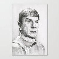 spock Canvas Prints featuring Spock by Olechka