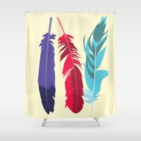 indie Shower Curtains featuring Indie Feathers  by Minette Wasserman
