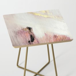 Sunrise [2]: a bright, colorful abstract piece in pink, gold, black,and white Side Table