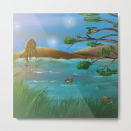 Relaxed view with giraffe and duck Metal Print