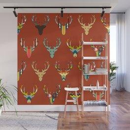 retro deer head russet Wall Mural
