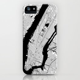 New York City Black and White Map iPhone Case