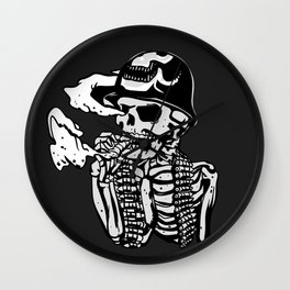 Military skeleton illustration - Soldier skull Wall Clock