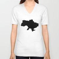 ukraine V-neck T-shirts featuring UKRAINE SIMPLE MAP by DEAD RINGER DESIGN