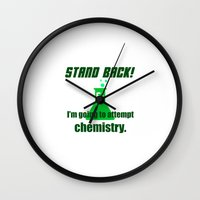 chemistry Wall Clocks featuring Attempting Chemistry by Spooky Dooky