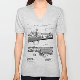 Bolt Action Rifle Patent - Repeating Receiver Art - Black And White Unisex V-Neck