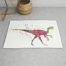 Oviraptor dinosaur in watercolor Rug
