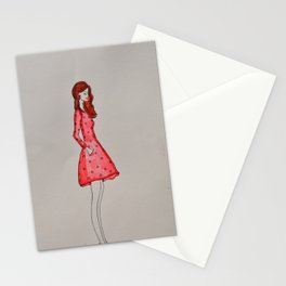 that girl in red Stationery Cards