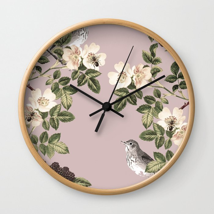 Birds and the Bees Pink Berry Wall Clock