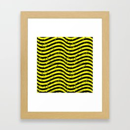 Wiggly Yellow and Black Speckle Pattern Framed Art Print
