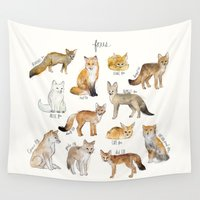 arctic monkeys Wall Tapestries featuring Foxes by Amy Hamilton