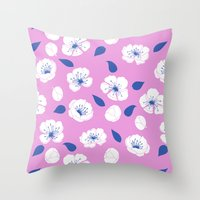 cherry blossoms Throw Pillows featuring Cherry blossoms by Anneline Sophia