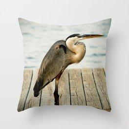Bird on Fishing Dock Nature Photography  Throw Pillow