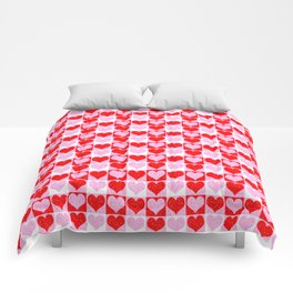 Love Heart Red Pink and White Check Pattern Comforters