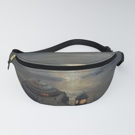 Plymouth Sound by Moonlight and Searchlight coastal nautical landscape painting by Julius Olsson Fanny Pack