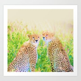 Cheetah Brothers Art Print
