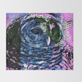 Rainbow Barred Owl Throw Blanket