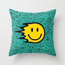 Smiley Face on Turquoise Leopard Print Throw Pillow