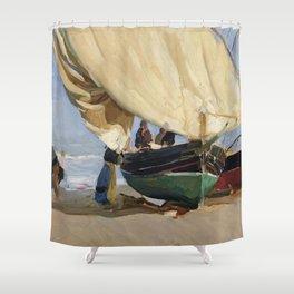 Fishermen Beached Boat, Valencia - Joaquín Sorolla  Shower Curtain