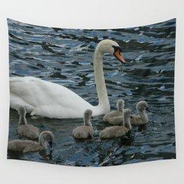 Mute Swan & Cygnets Wall Tapestry