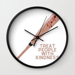 Treat People With Kindness (Baseball Bat Edition) Wall Clock