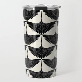 CRANE DESIGN - pattern - Black and White Travel Mug