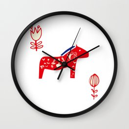 Dala horse white Wall Clock