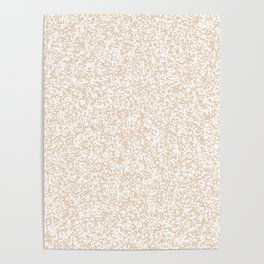 Tiny Spots - White and Pastel Brown Poster