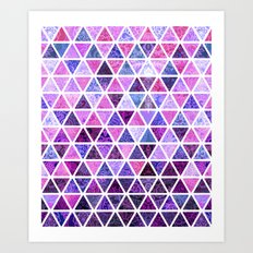 Berry Purples - Triangle Patchwork Pattern Art Print