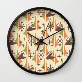Mid Century Modern Cosmic Boomerang 726 Brown Orange and Green Wall Clock