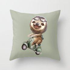 RUNAWAY SLOTH Throw Pillow