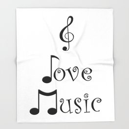 I Love Music Throw Blanket