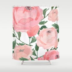 Peony Watercolor Collage Shower Curtain