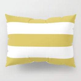 Old gold - solid color - white stripes pattern Pillow Sham