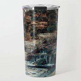 Kyoto Garden, London, Waterfall, Nature Landscape, Photography Travel Mug