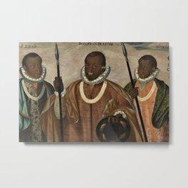 1599 Renaissance African Masterpiece 'Los tres mulatos de Esmeraldas' by Andres Galque Metal Print