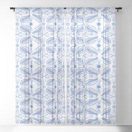 Poblanos Pattern Blue White Sheer Curtain