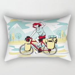 Cycling Girl Rectangular Pillow