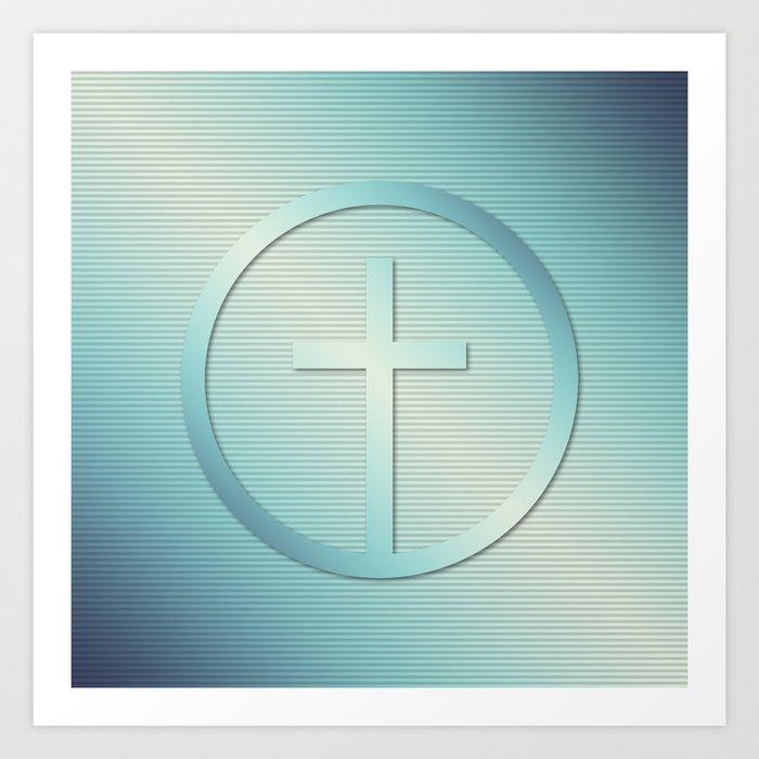 Retro Cross Emblem Graphic Art Print