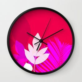 Leaves silhouette in pink and red  Jungle Brazil Wall Clock
