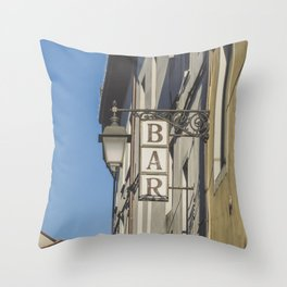 Bar sign in a village Italy Throw Pillow