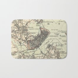 Vintage Map of Portland Maine (1914) Bath Mat