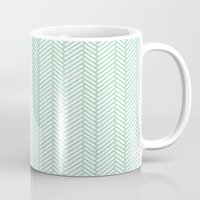 herringbone Mugs featuring Herringbone Mint by Project M