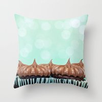 tooth Throw Pillows featuring Sweet Tooth  by Laura Ruth